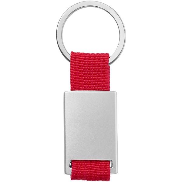 Přívěsek na klíče Alvaro s tkaným páskem - Červená s efektem námrazy / Stříbrný