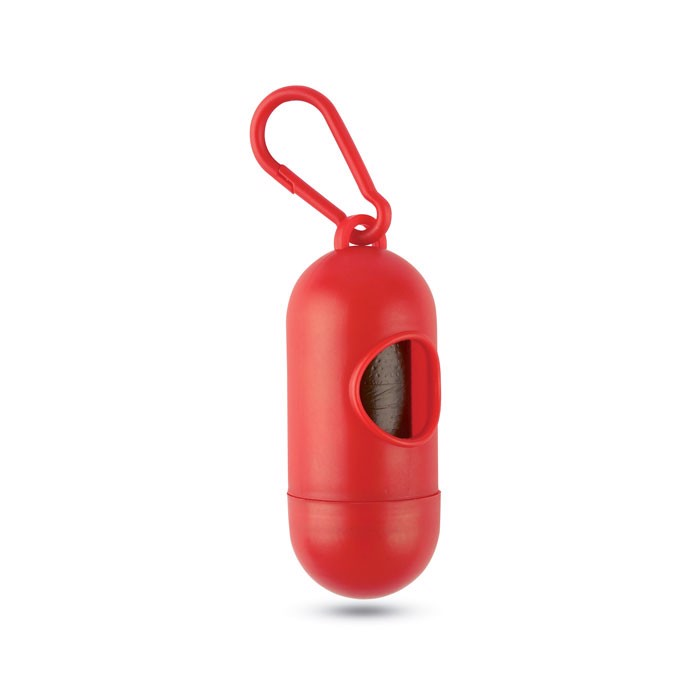 Container for pet bag w/ hook Tedy - Red