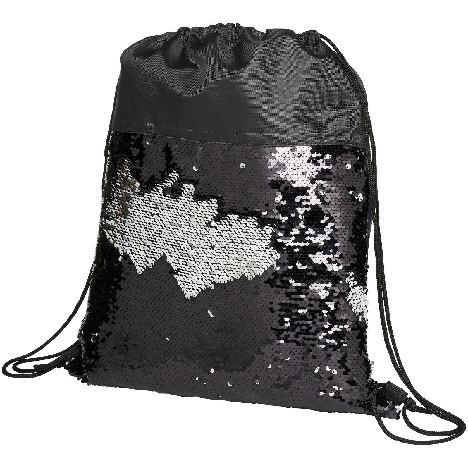 Cekinowy plecak workowy Mermaid - Czarny