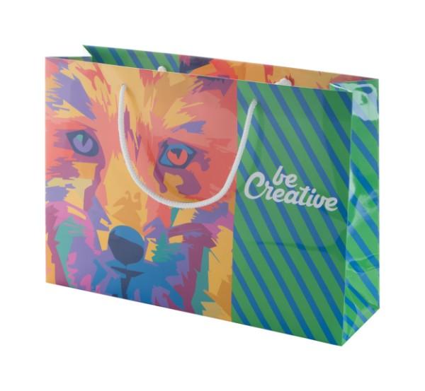 Horizontální Papírová Nákupní Taška Na Zakázku CreaShop H - Vícebarevná