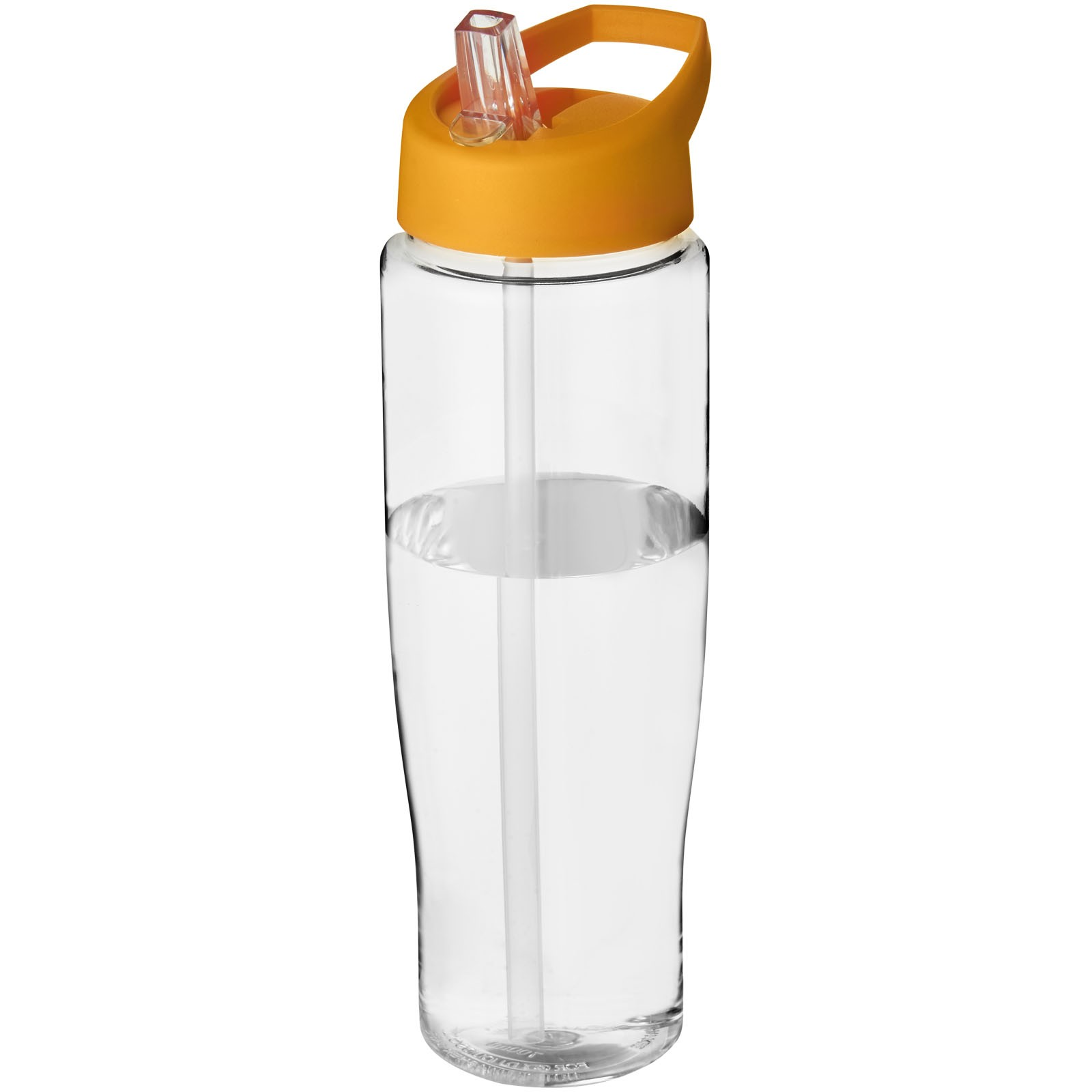 H2O Tempo® Bidón deportivo con tapa con boquilla de 700 ml - Transparente / Naranja
