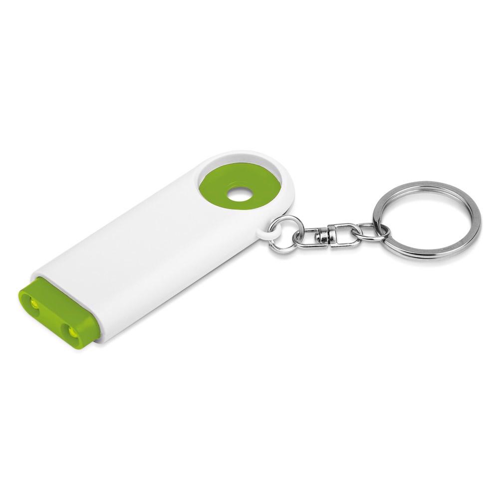 TOKEN. Coin-shaped keyring for supermarket trolley - Light Green