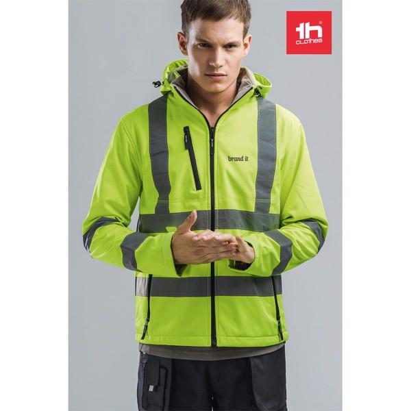 THC ZAGREB WORK. Vysoce viditelná softshellová bunda pro muže, se snímatelnou kapucí - Fluorescenční Žlutá / L