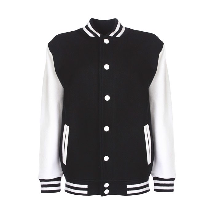 Kids Sweatshirt 300 g/m2 Junior Varsity Jacket Fv002 - Black / White / XL