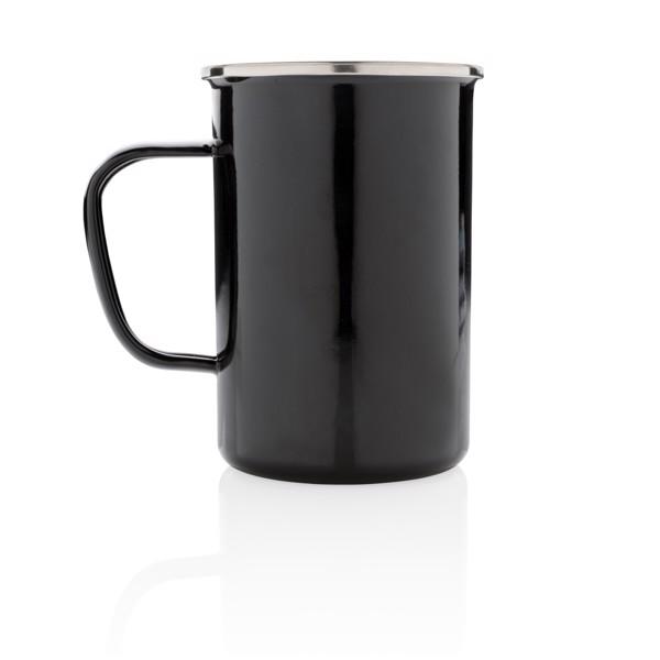 Retro smaltový hrnek XL - Černá