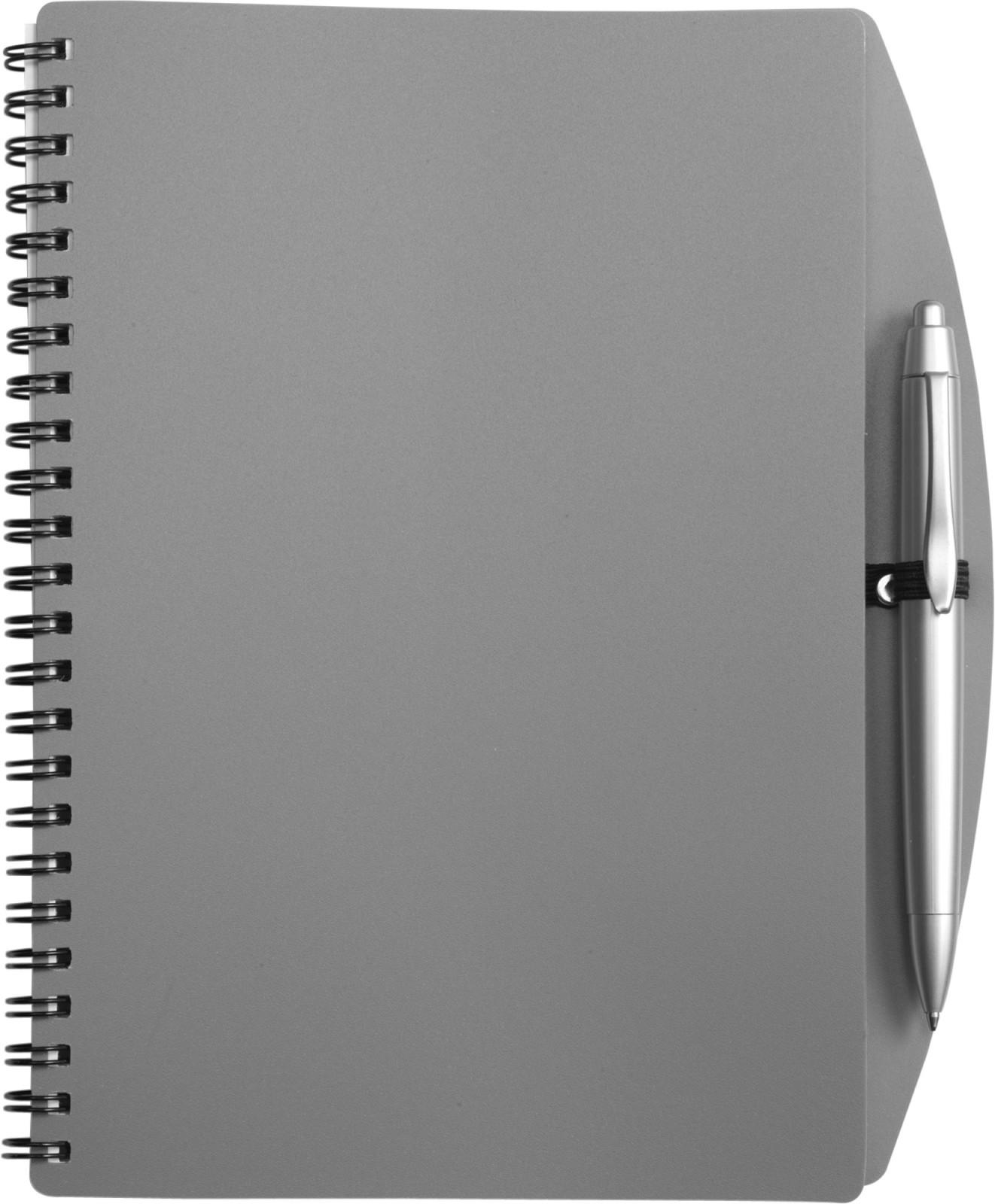 PP notebook with ballpen - Grey