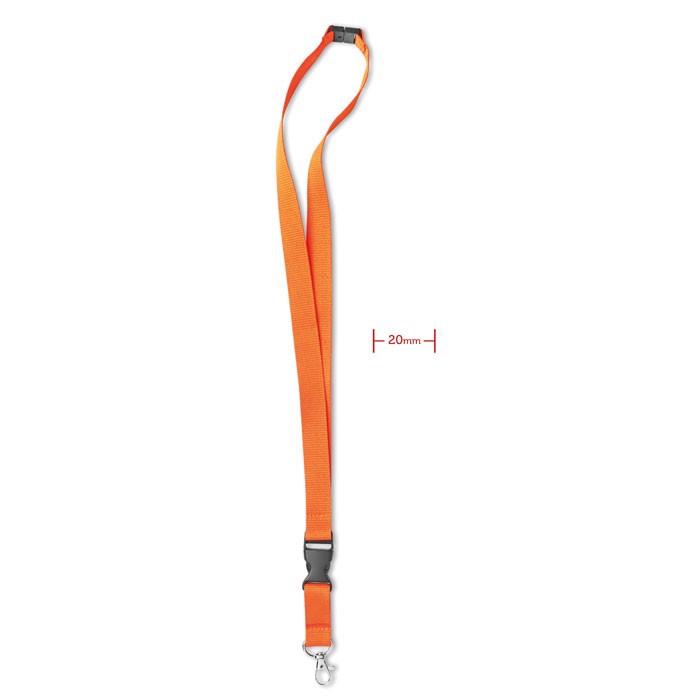 Lanyard with metal hook 20 mm - Orange