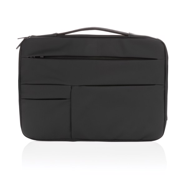 "Smooth PU 15.6"" laptop sleeve with handle - Black"