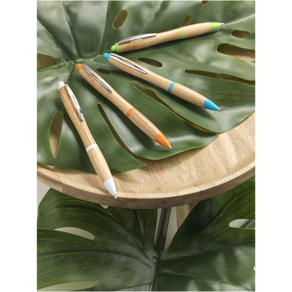 """Bolígrafo de bambú """"Nash"""" - Natural / Azul Real"""