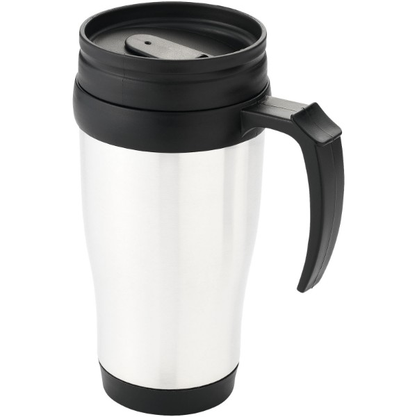 Daytona 400 ml insulated mug - White / Solid black