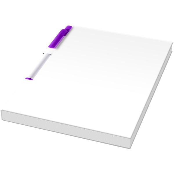 Essential konferenční sada poznámkového bloku A6 a pera - Bílá / Purpurová