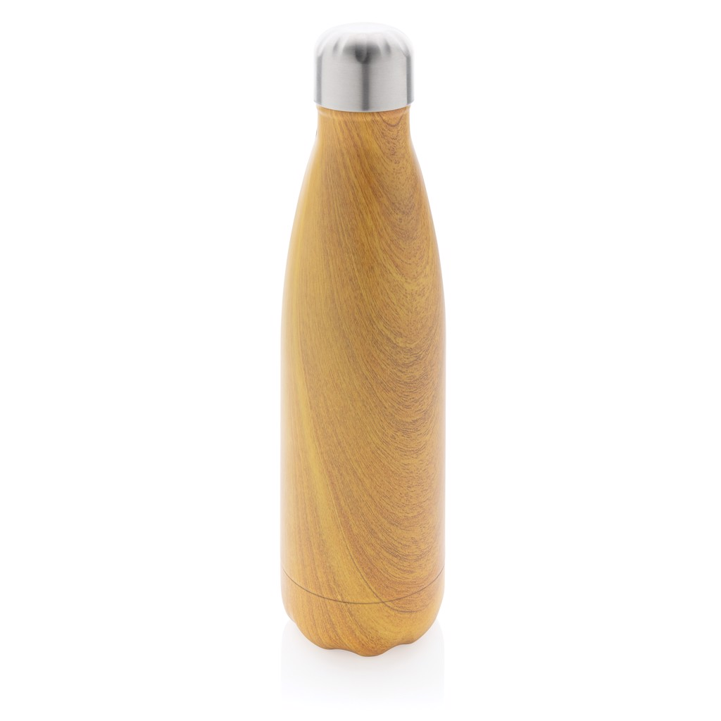 Vacuum insulated ss bottle with wood print - Yellow