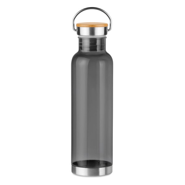 Tritan 800ml bottle bamboo top Helsinki Basic - Transparent Grey