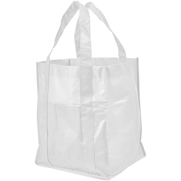 Savoy slash pocket laminated non-woven tote bag - White