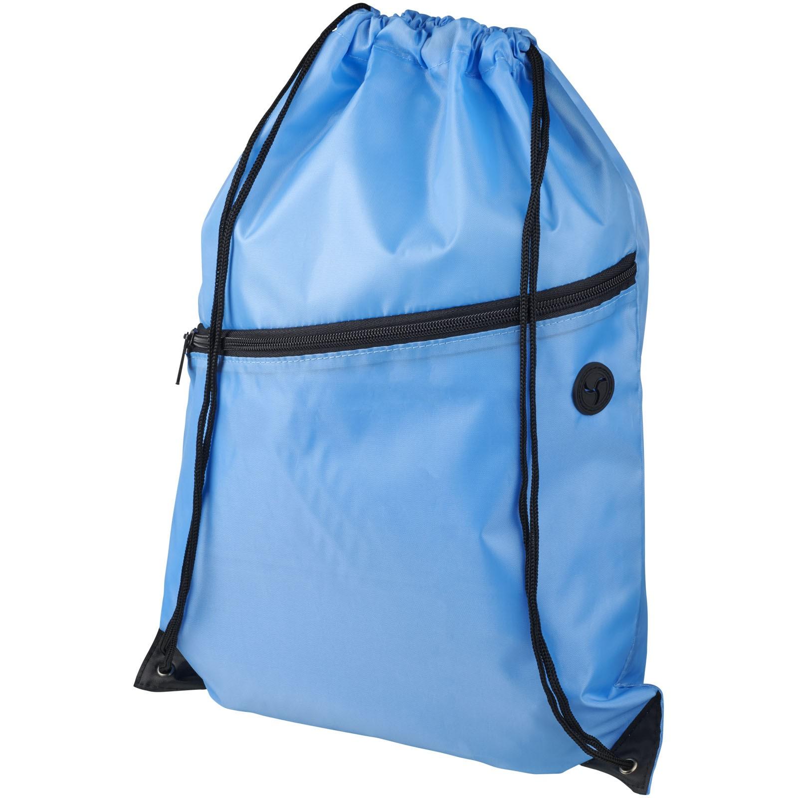 Oriole zippered drawstring backpack - Light blue