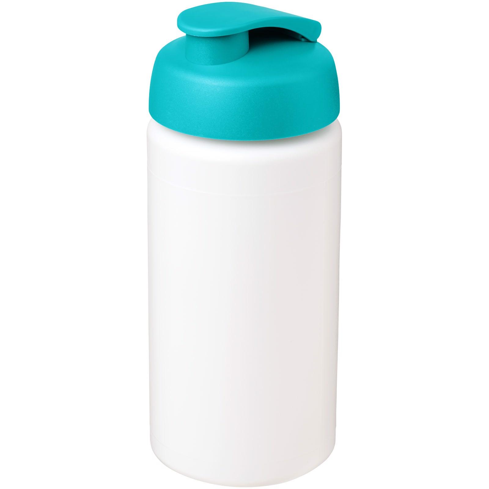 Baseline® Plus grip 500 ml Sportflasche mit Klappdeckel - Weiss / Aquablau