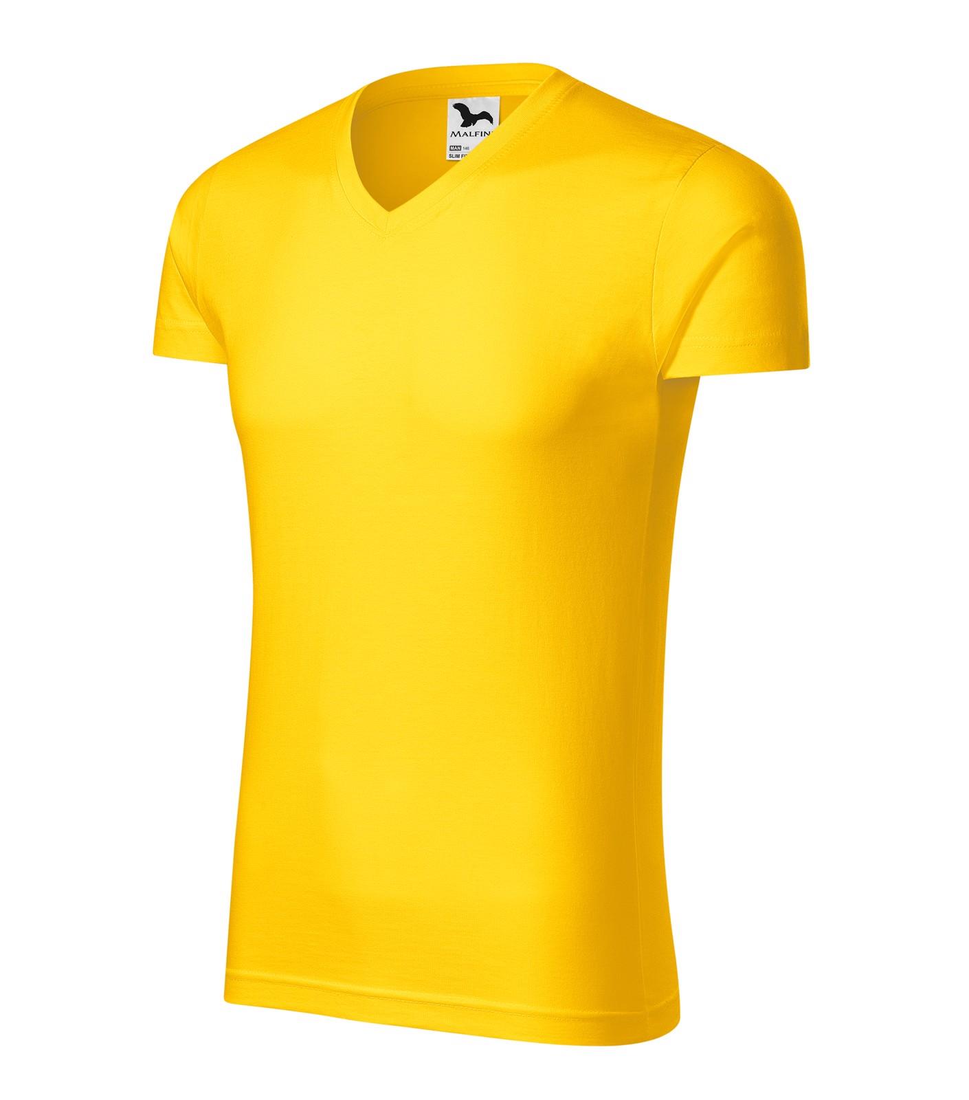 Tričko pánské Malfini Slim Fit V-neck - Žlutá / XL