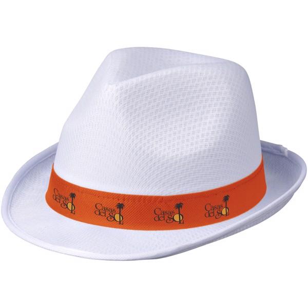 Trilby hat with ribbon - White / Orange