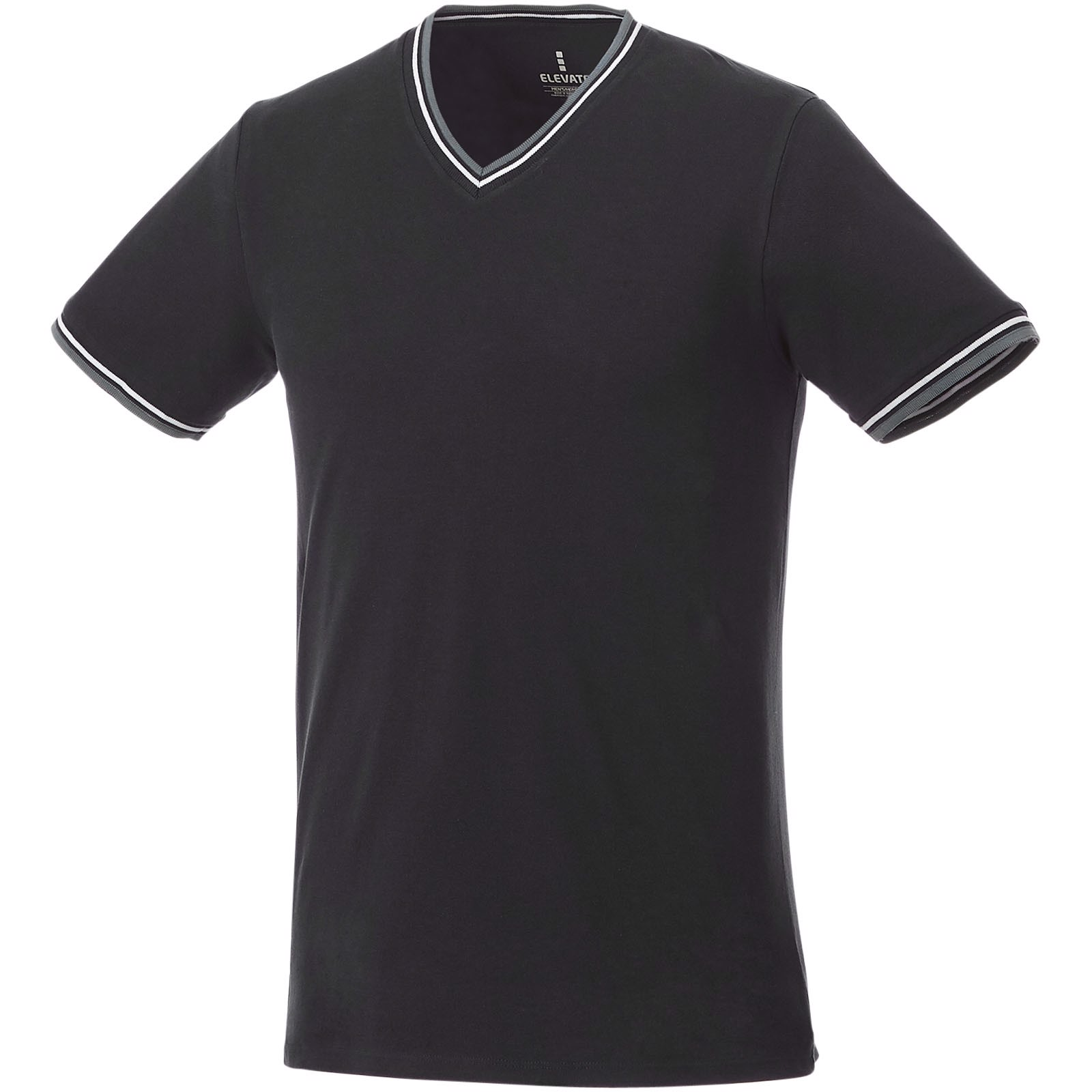 Elbert short sleeve men's pique t-shirt - Solid black / Grey melange / White / M