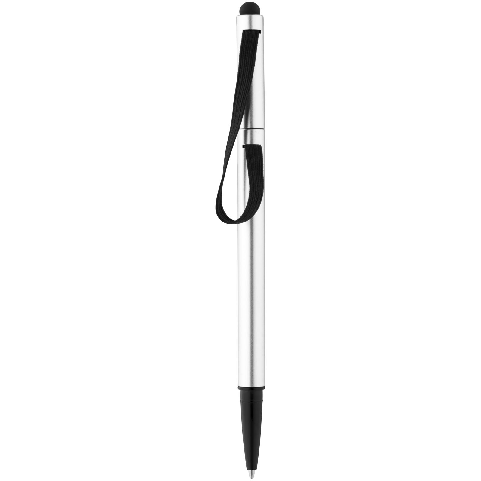 Stretch ballpoint pen with elastic strap - Silver / Solid black