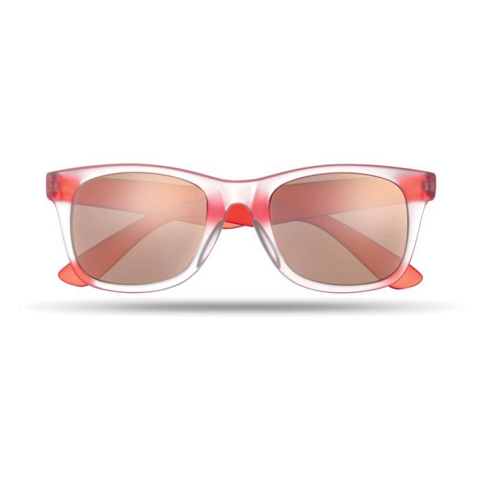 Lustrzane okulary przeciwsłon America Touch - czerwony