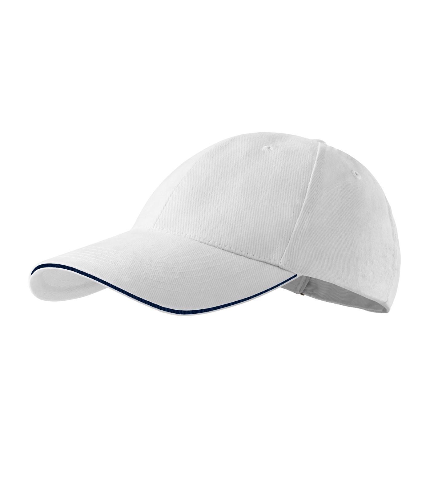 Cap unisex Malfini Sandwich 6P - White / adjustable
