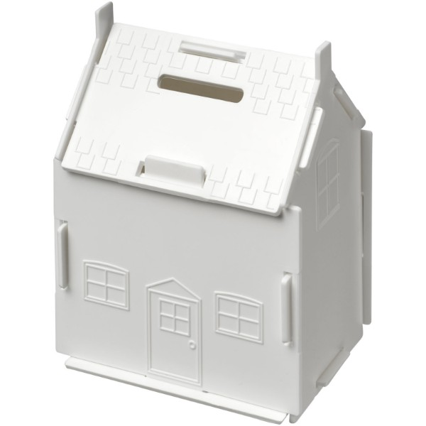 Uri house-shaped plastic money container - White