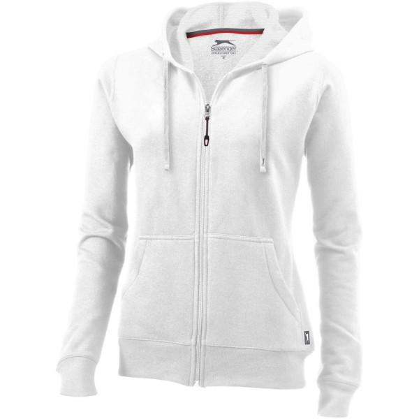 Open full zip hooded ladies sweater - White / XXL