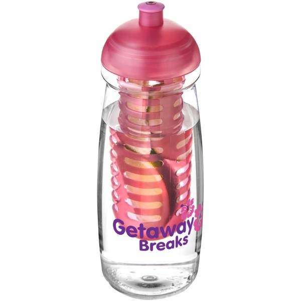 Sportovní láhev s infuzérem a kupolovitýmvíčkem H2O Pulse® 600 ml - Průhledná / Růžová