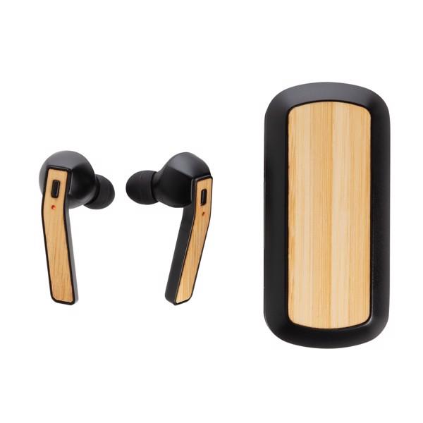 Bambusová bezdrátová sluchátka v nabíjecí krabičce Free Flow