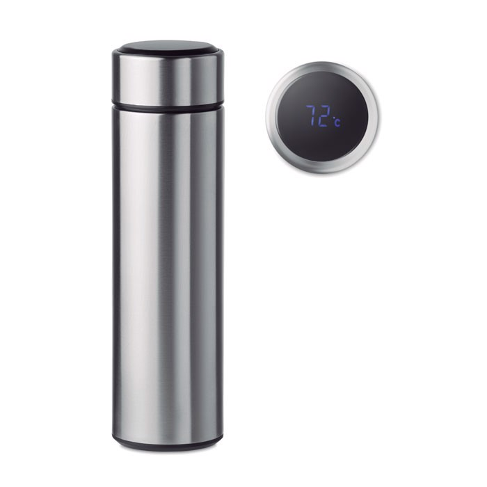 Bottle with touch thermometer Pole - Matt Silver