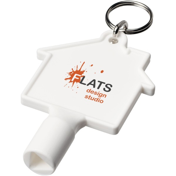 Maximilian house-shaped meterbox key with keychain - White