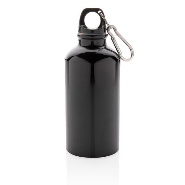 Hliníková sportovní lahev s karabinou - Černá
