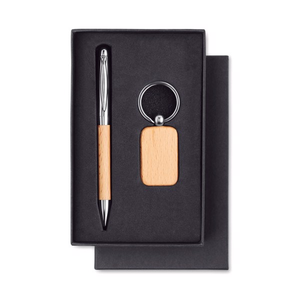 Wooden set keyring and ball pen Pen & Ring