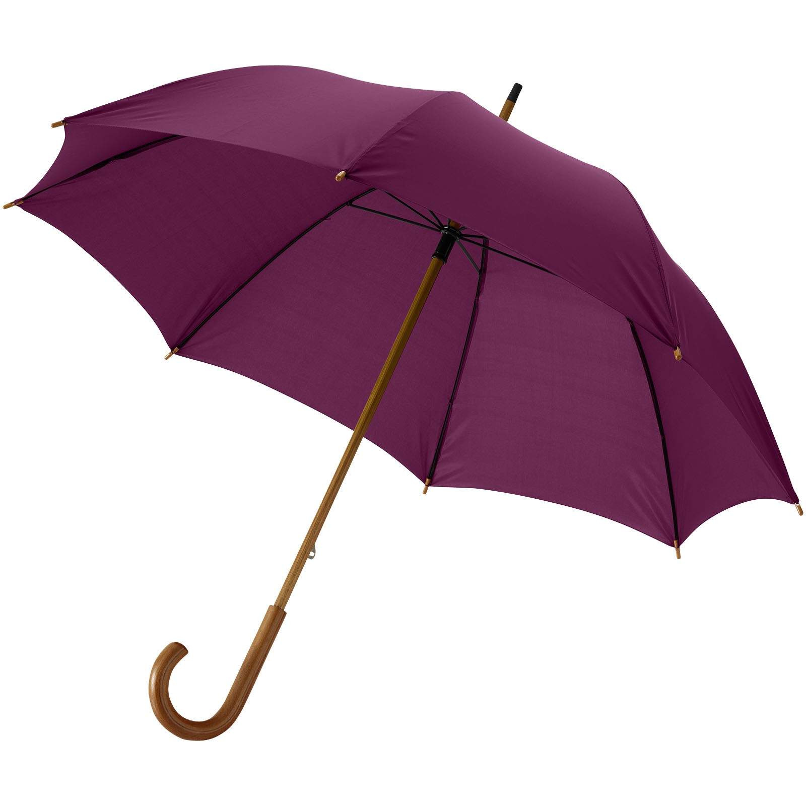 """23"""" klasický deštník Jova s dřevěnou tyčí a rukojetí - Burgundská červená"""