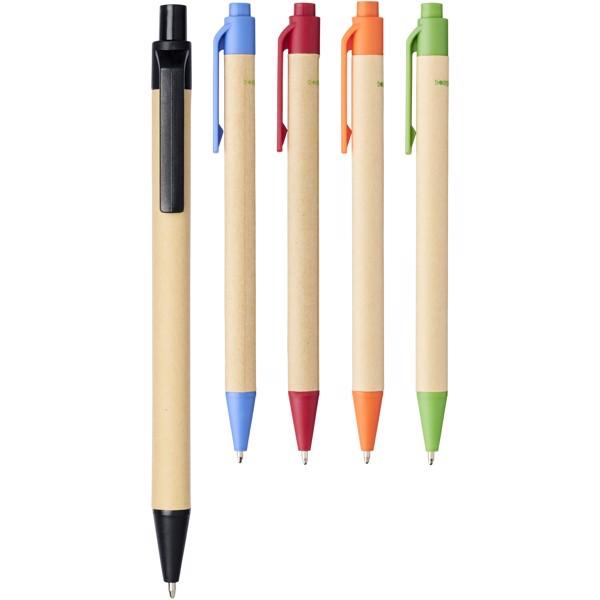 Berk kuličkové pero z recyklované lepenky a kukuřičného plastu - 0ranžová