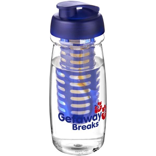 H2O Pulse® 600 ml flip lid sport bottle & infuser - Transparent / Blue
