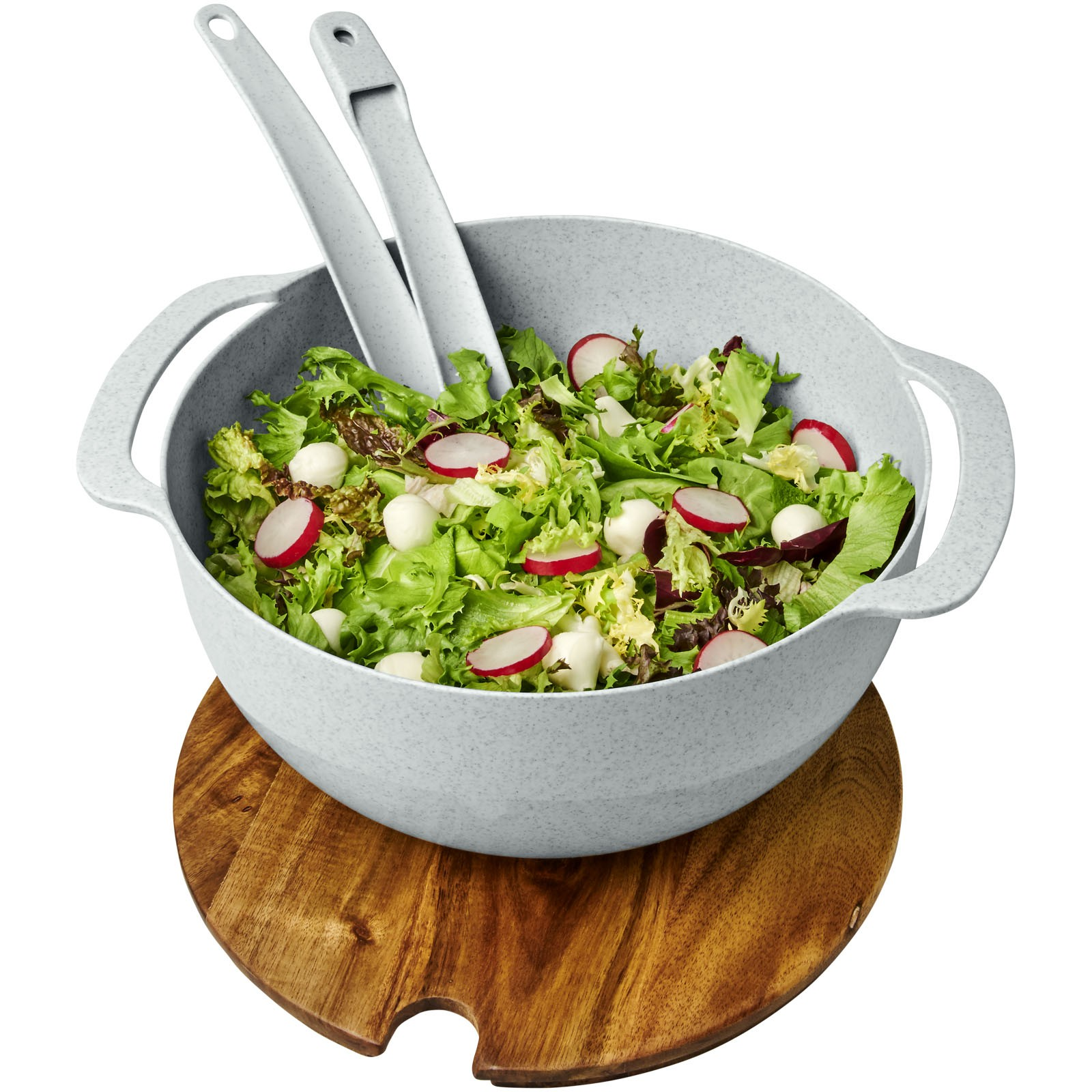 Lucha wheat straw salad bowl with servers - Grey