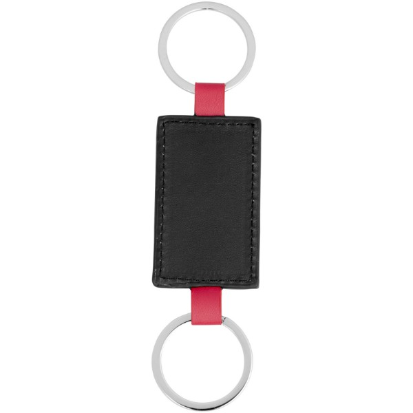 Felipe leather-look keychain - Red / Solid black