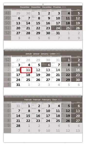 Slovenské trojmesačné menné so sviatkami európskych štátov (CZ / SK / A / B / D / F / H / CH / I / PL / RUS / UKR) Slovenský trojmesačný kalendár  so špirálou, 31,5x55,5cm+18cm - šedý