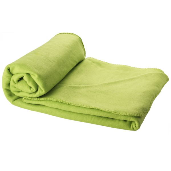 Huggy fleece plaid blanket with carry pouch - Lime