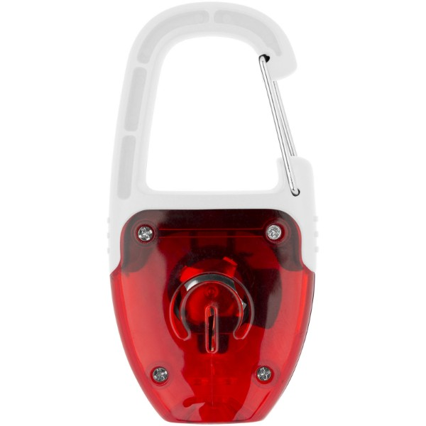 LED svítící klíčenka Reflect-or s karabinou - Červená s efektem námrazy / Bílá