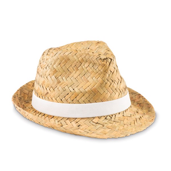 Natural straw hat Montevideo - White