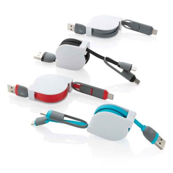 Svinovací nabíjecí kabel 3 v 1 - Modrá