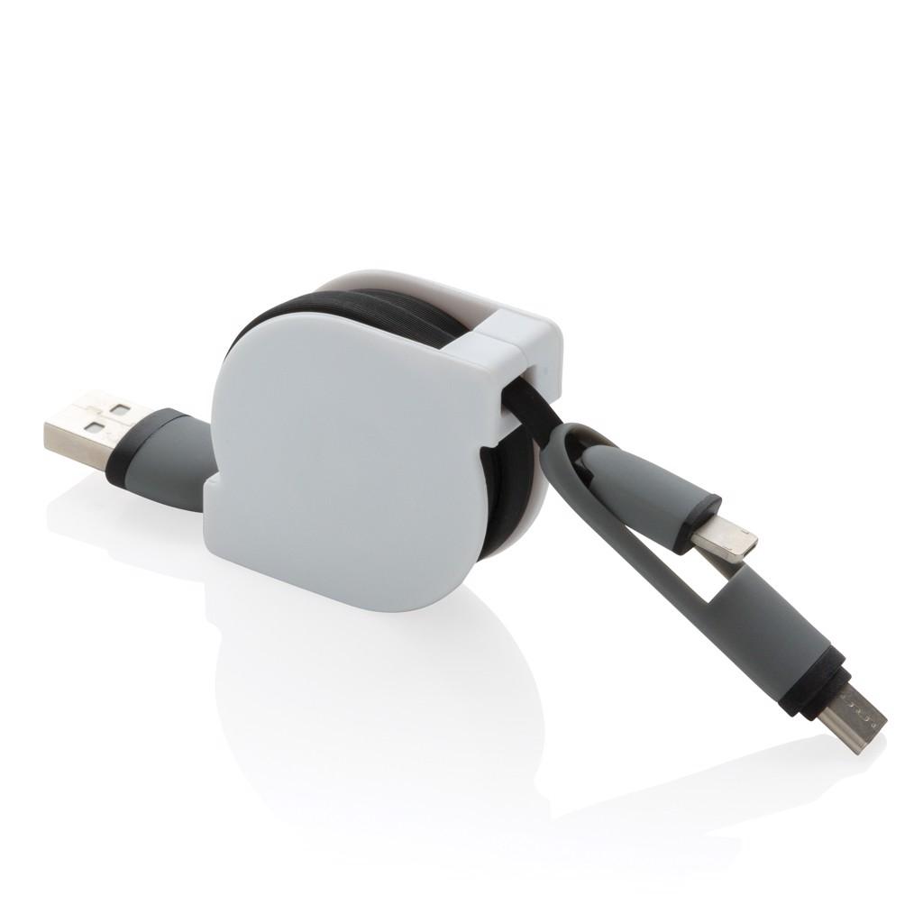Svinovací nabíjecí kabel 3 v 1 - Černá