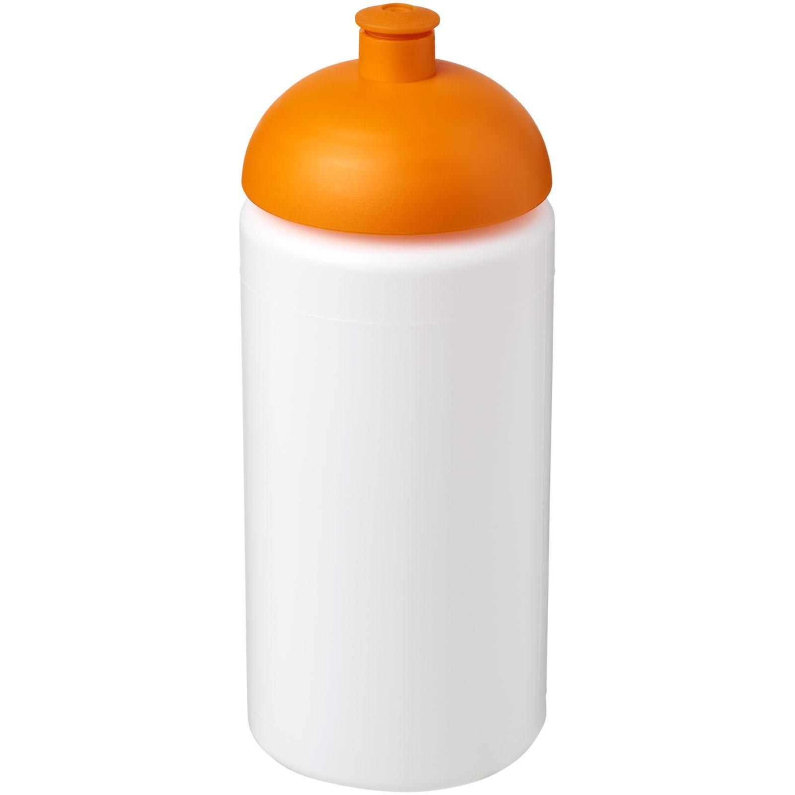 Sportovní láhev s kupolovitým víčkem Baseline® Plus grip 500 ml - Bílá / 0ranžová