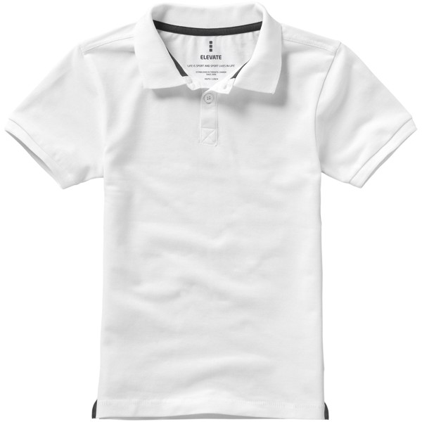 Calgary short sleeve kids polo - White / 140