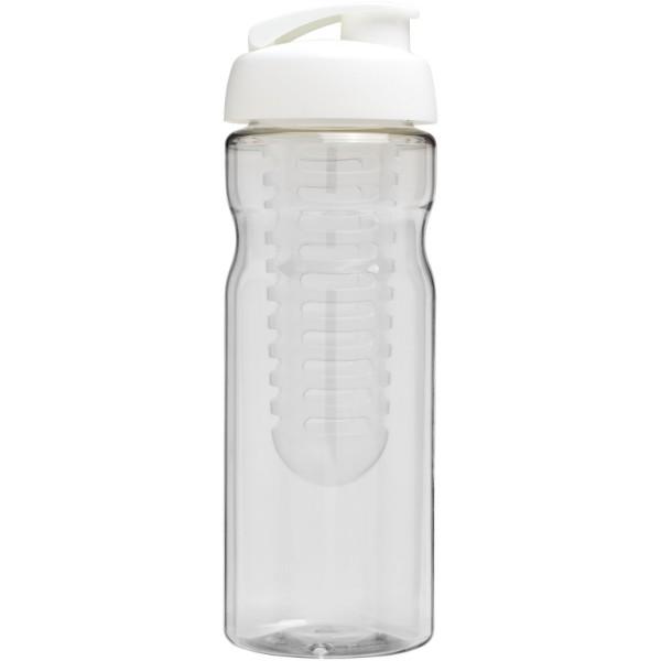 Sportovní láhev s infuzérema vyklápěcím víčkem H2O Base® 650 ml - Transparent / White Solid